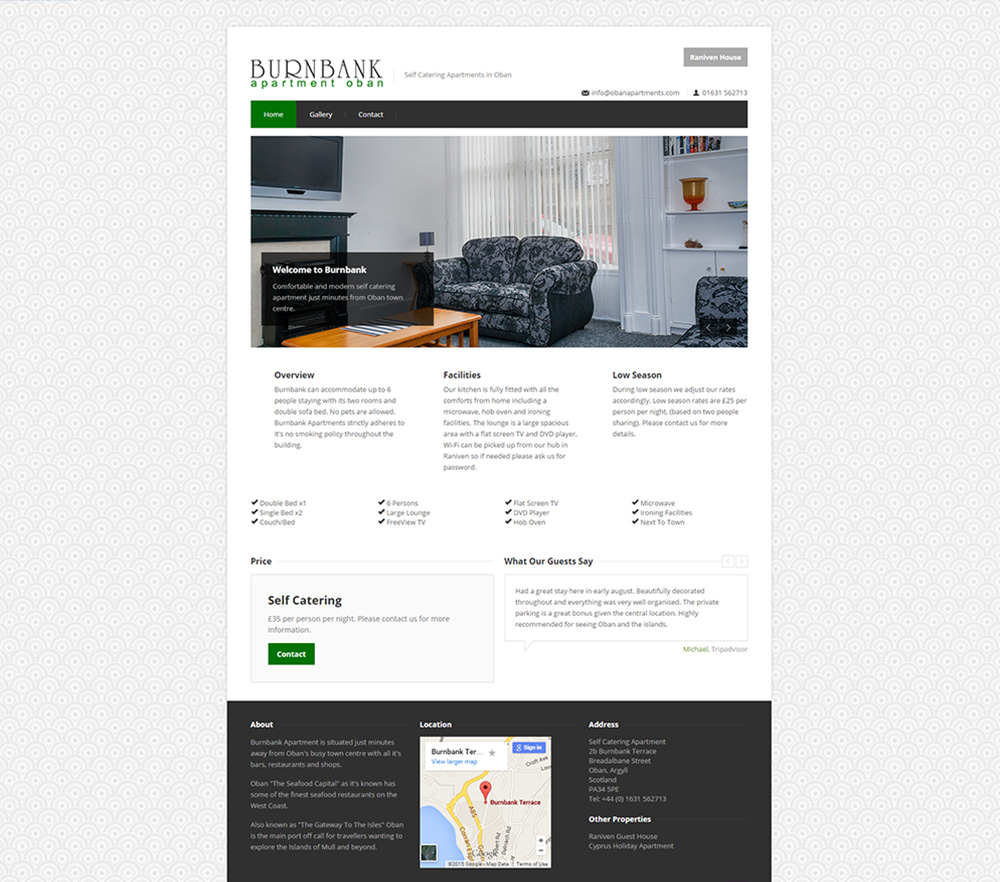 Burnbank apartment oban web design for Apartment web design